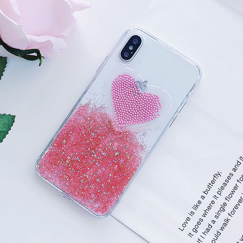 Liquid Glitter Case For iPhone 7 8 6 Plus X Cases Fo iPhone 6S Case Lovely Heart Quicksand Dynamic Clear Cover For iphone 8 Case (9)