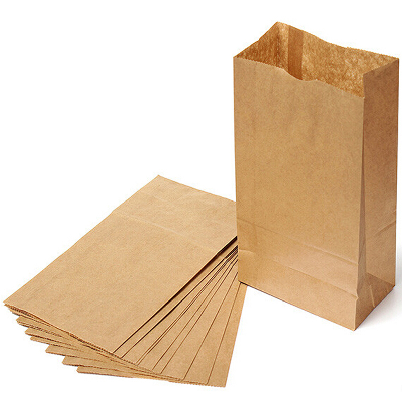 High Quality Set of 100 Kraft Paper Small Gift Bags Sandwich Bread Food Bags Party Retail Wholesale Stationery Free Shipping