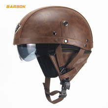 PU Leather Motorcycle Helmets Shockproof Removable Inner Lining Moto Riding Road Bike Downhill Cycling Half Covered Safety Caps