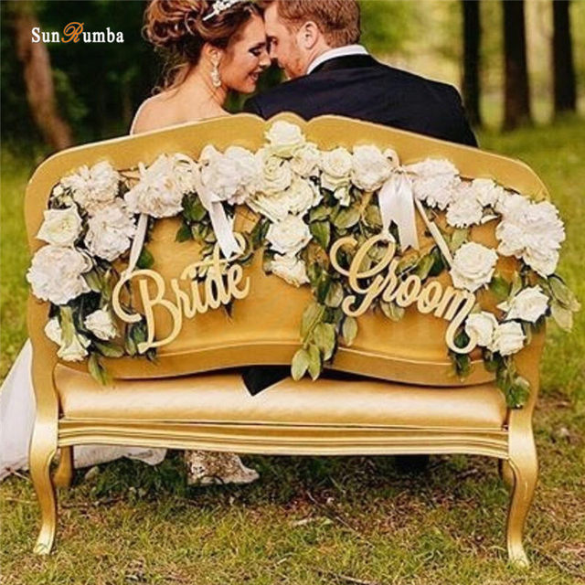 Aliexpress Buy 2pcsset Bride Groom Rustic Wedding Sign Decor