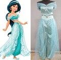 Adulto Mulheres Menina Crianças Anime Aladdin Princesa Jasmine Traje Cosplay Roupas