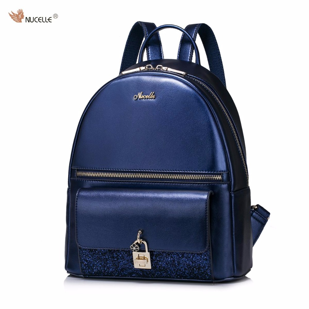 New NUCELLE Brand Design Women's Fashion Flower Lock Flash PU Leather Casual Ladies Girls Backpacks Shoulders Travel School Bag
