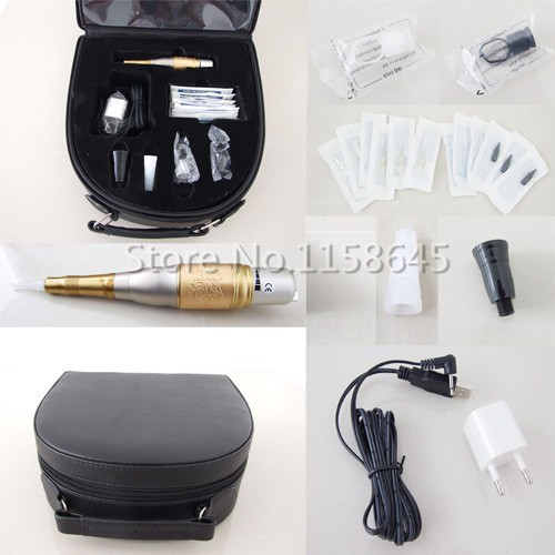1 Sets Top Sell Professional Permanent Makeup Kit Tattoo Machine Pen For Eyebrow Lips + Needles Tips Case Cosmetic Supply DHL #j professional permanent makeup tattoo eyebrow pen machine 50 needles tips power supply set us plug drop shipping wholesale
