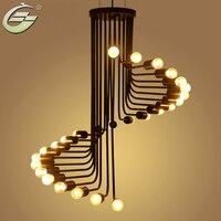 Iron Rotating Pendant Light Creative 26 heads Spiral E27 Light Bulb Lighting Home Decor Stair Helix Lamp Hotel Living Room Stair