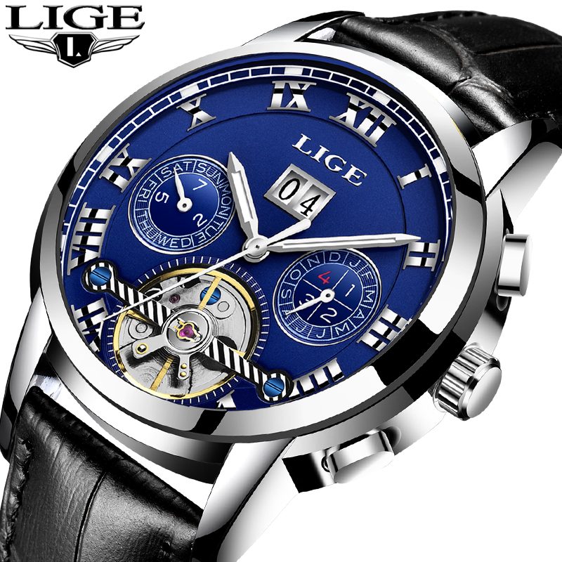 LIGE Mens Watches Automatic machinery Brand Men Watch Casual Fashion Business Men Waterproof Leather Clock Relogio MasculinoLIGE Mens Watches Automatic machinery Brand Men Watch Casual Fashion Business Men Waterproof Leather Clock Relogio Masculino