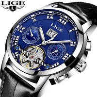 LIGE Mens Watches Automatic machinery Brand Men Watch Casual Fashion Business Men Waterproof Leather Clock Relogio Masculino