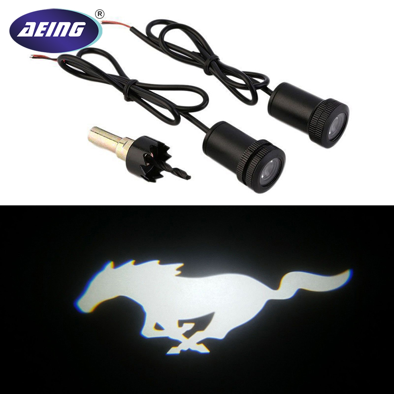 AEING 2pcs White Mustang Pony LED Courtesy Lamps Ghost Shadow Lights Door Projectors For Ford Mustang