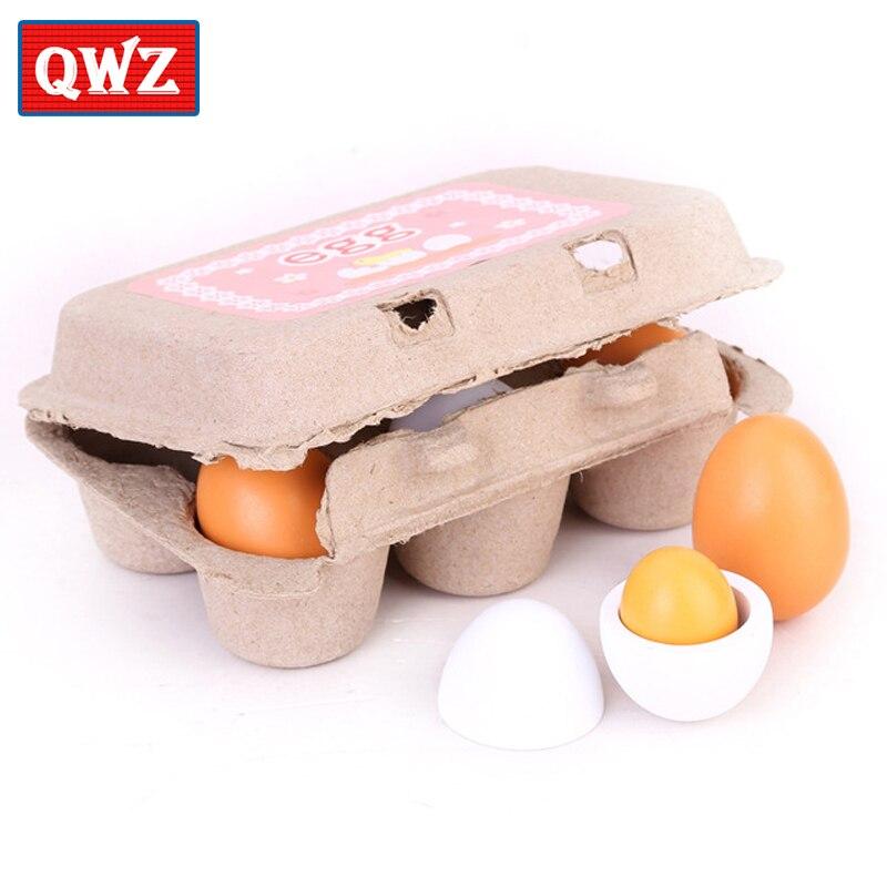 QWZ 6 teile/satz Holz Küche Spielzeug Set Lebensmittel Eier Eigelb Geschenk Vorschule Kindergarten Kinder Spielzeug für Mädchen Kinder Jungen Pretend spielen