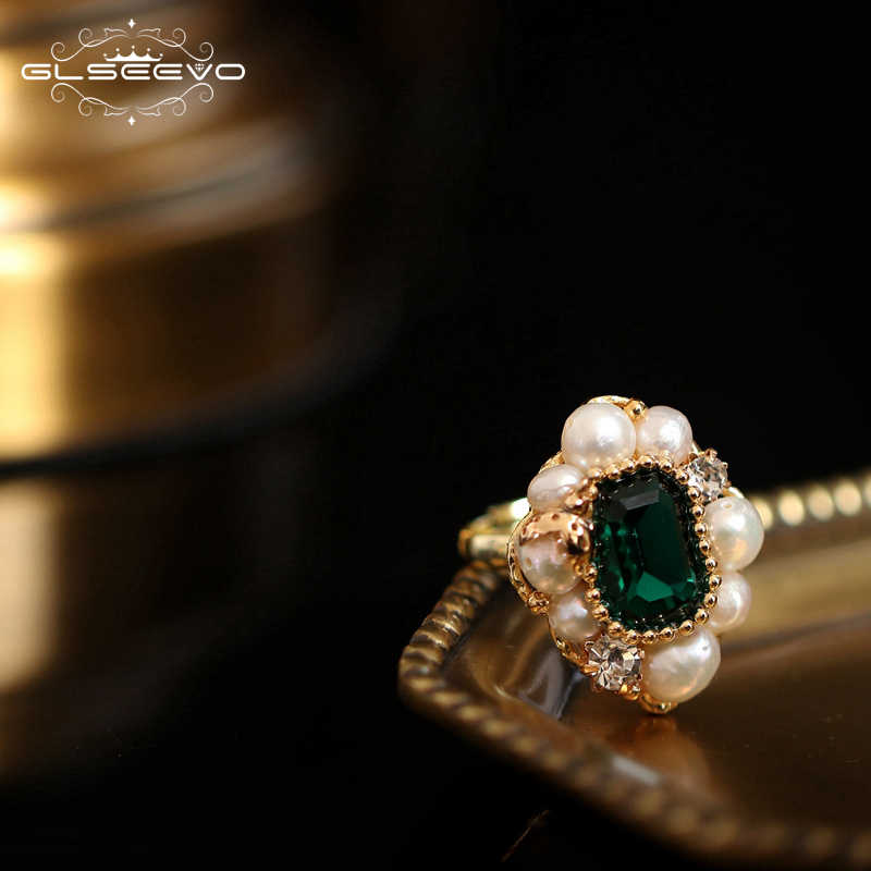 GLSEEVO Handmade Origainal Design Natural Fresh Water Pearl Blue Stone Ring For Women Engagement Wedding Jewelry Luxury GR0239