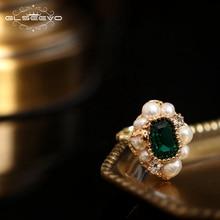 GLSEEVO טבעי טרי מים פנינת אבן טבעת עבור נשים אירוסין חתונה בעבודת יד Origainal עיצוב יוקרה תכשיטי GR0239