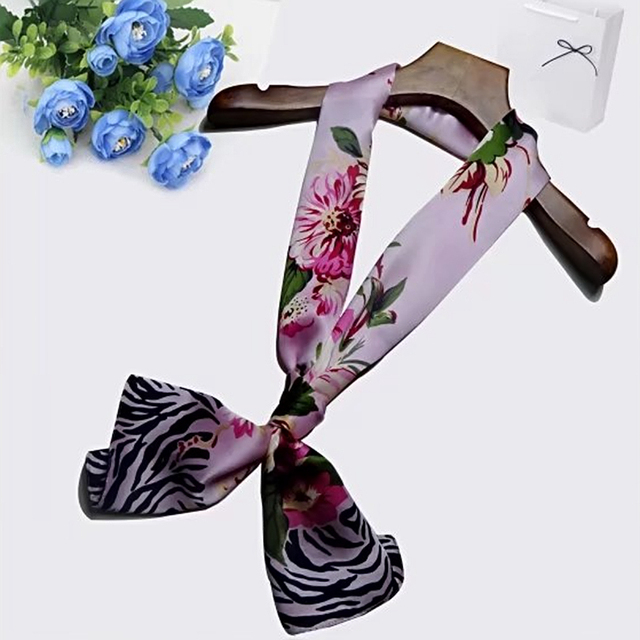 Casual Floral Silk Scarf   Lightweight Scarves