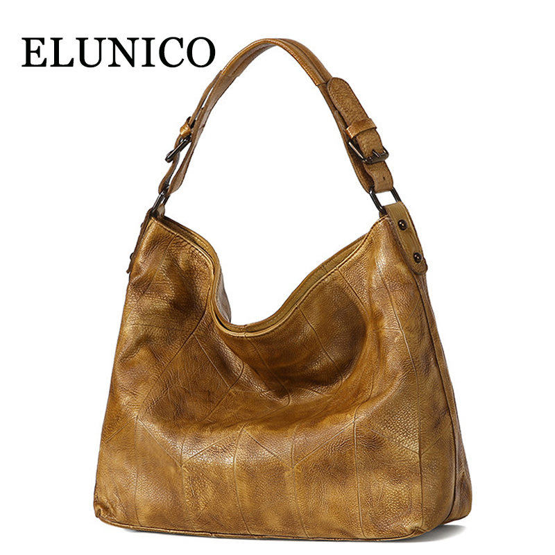 ELUNICO Female Large Capacity Fashion Genuine Leather Tote Luxury Handbags Women Bags Designer Messenger Shoulder Bag Sac A Main elunico 2018 new large capacity cowhide tote bags handbags women famous brands genuine leather messenger shoulder bag sac a main