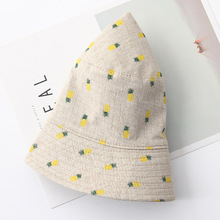 2018 new Woman Cotton Bucket Hats Wide brim Casual Sun Hats Cute pineapple Print Flat top casual outdoor hats