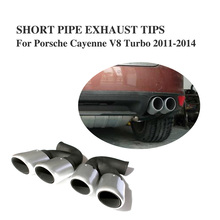 Stainless Steel Auto Car Back Exhaust System Tip Tail Muffler Pipes Quad Fir For Porshe Cayenne V8 Tubo 2011-2014 2PCS/Set