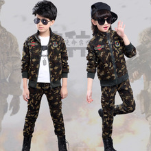 ФОТО 2018 spring and autumn new children's clothing spring camouflage suit boys and girls uniform clothes two-piece