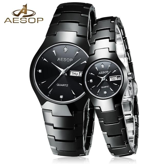 AESOP Ceramic Couple Watch Women Men Sapphire Crystal Lovers Quartz Wristwatch L