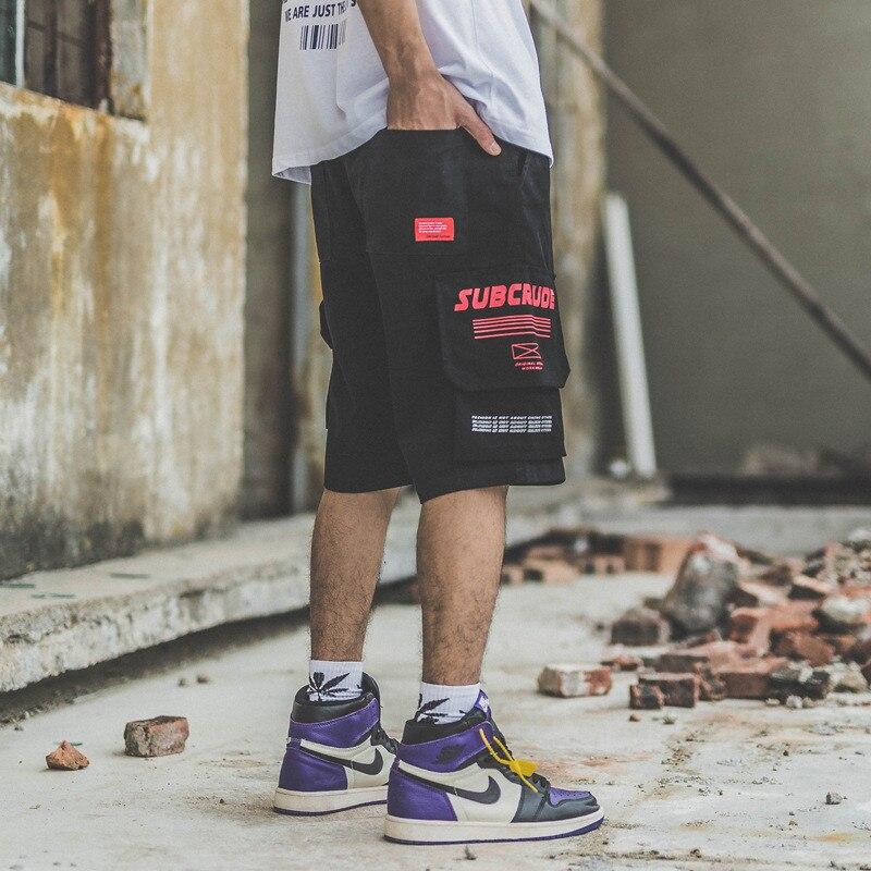 Japanese Harajuku Big Pockets Mens Cargo Shorts for Summer Urban Boys Streetwear Drawstring Hip Hop Short Pants Plus Size M-XXL 2