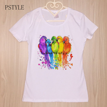 PSTYLE T shirt colorful birds rainbow tshirt women Beautiful art work clothes Hot sale comfortable tee femme