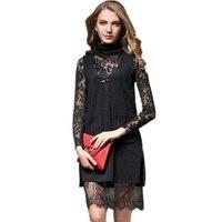 ホット販売女性ドレスファッションツーピースセクシーなレースドレスエレガントなolワークドレスタートルネック気質服用女性DR475