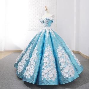 Image 5 - J66662 jancember ורוד quinceanera שמלות 2019 נפוח כבוי תחרת כתף לבן פרחי כדור שמלת שמלת מבריק бальное платье