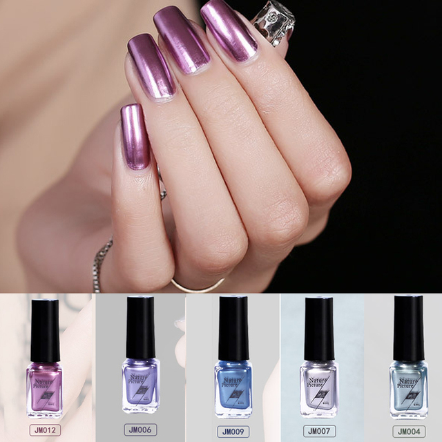 6ml Mirror Metallic Nail Polish Rose Gold Silver Chrome Nail Art