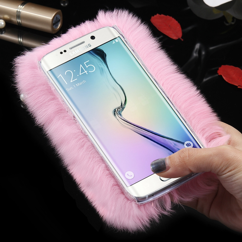 cheaper 31eac 15a1f US $4.99 |S6 Edge Plus Funny Rabbit Hair Skin Hard Case Bag For Samsung  Galaxy S6 Edge S6 Edge Plus Glitter Diamond Camera Hole Slim Cover on ...
