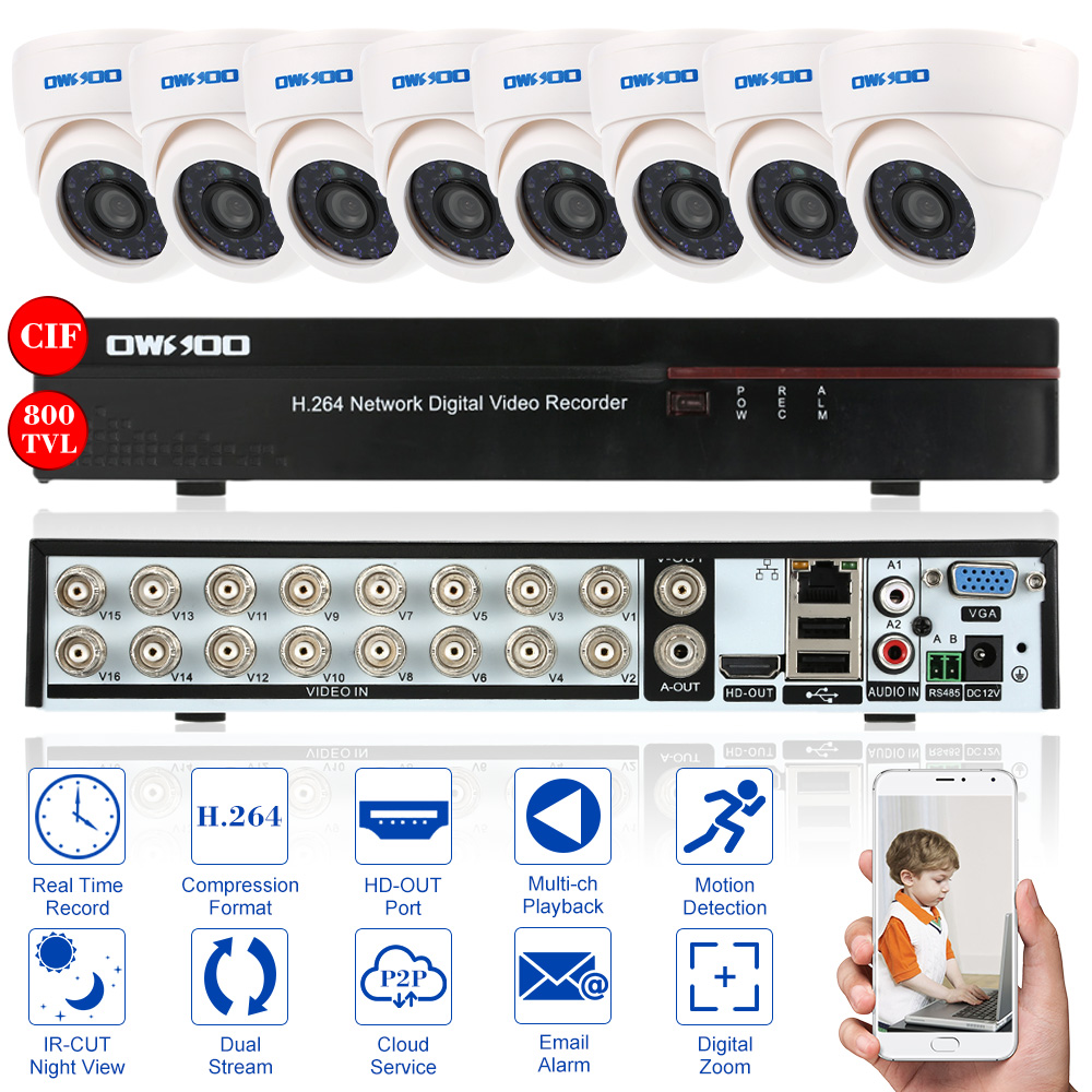 OWSOO 16CH Full CIF DVR CCTV System With 8PCS CCTV Camera 800TVL Infrared Dome Security Surveillance