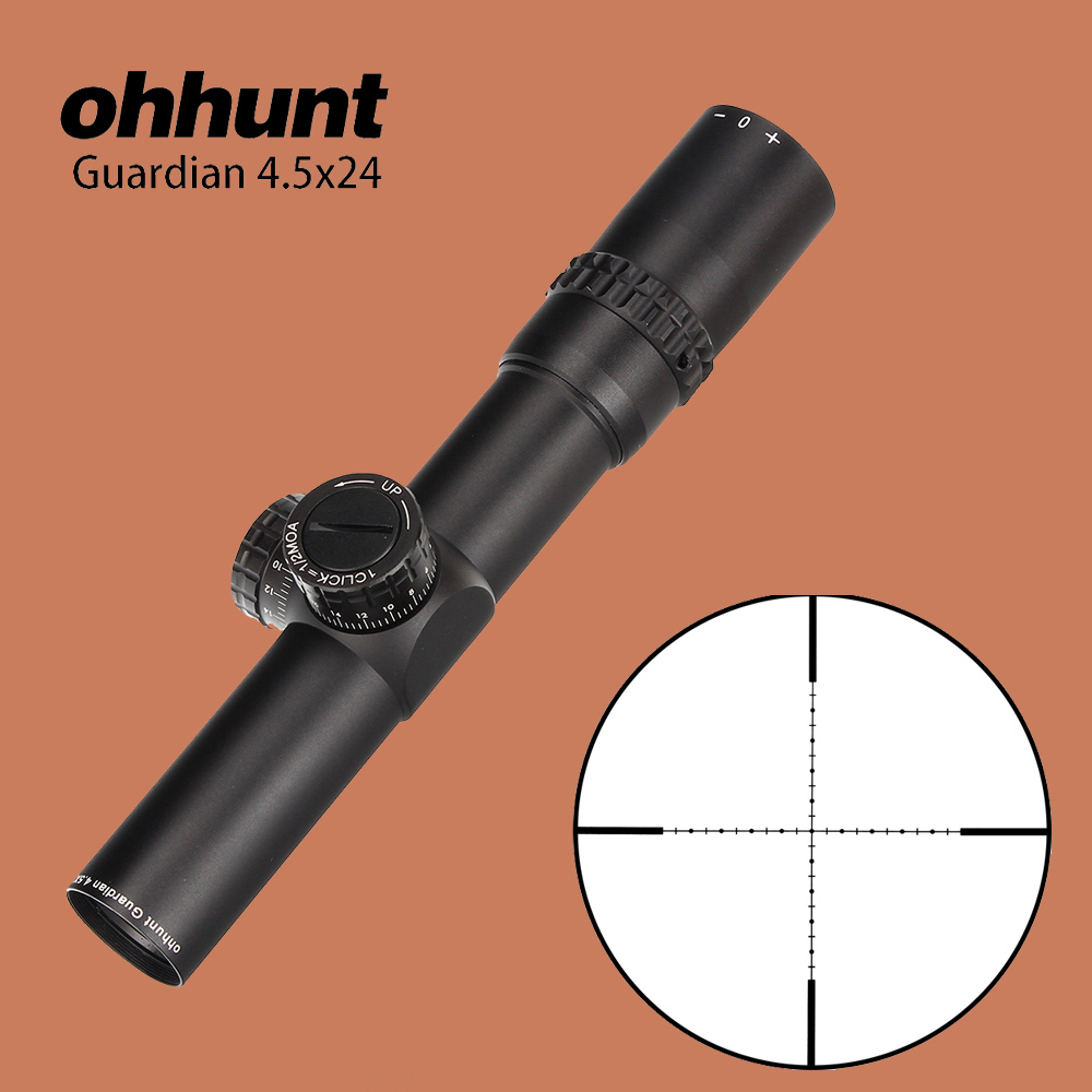ohhunt 4.5X24 Compact Hunting Riflescope 1/2 Half Mil Dot Wire Reticle Optical Sights with Turrets Reset Tactical Rifle Scope hunting ohhunt optics 3 9x32 ao compact 1 2 half mil dot reticle riflescopes turrets locking with sun shade tactical rifle scope