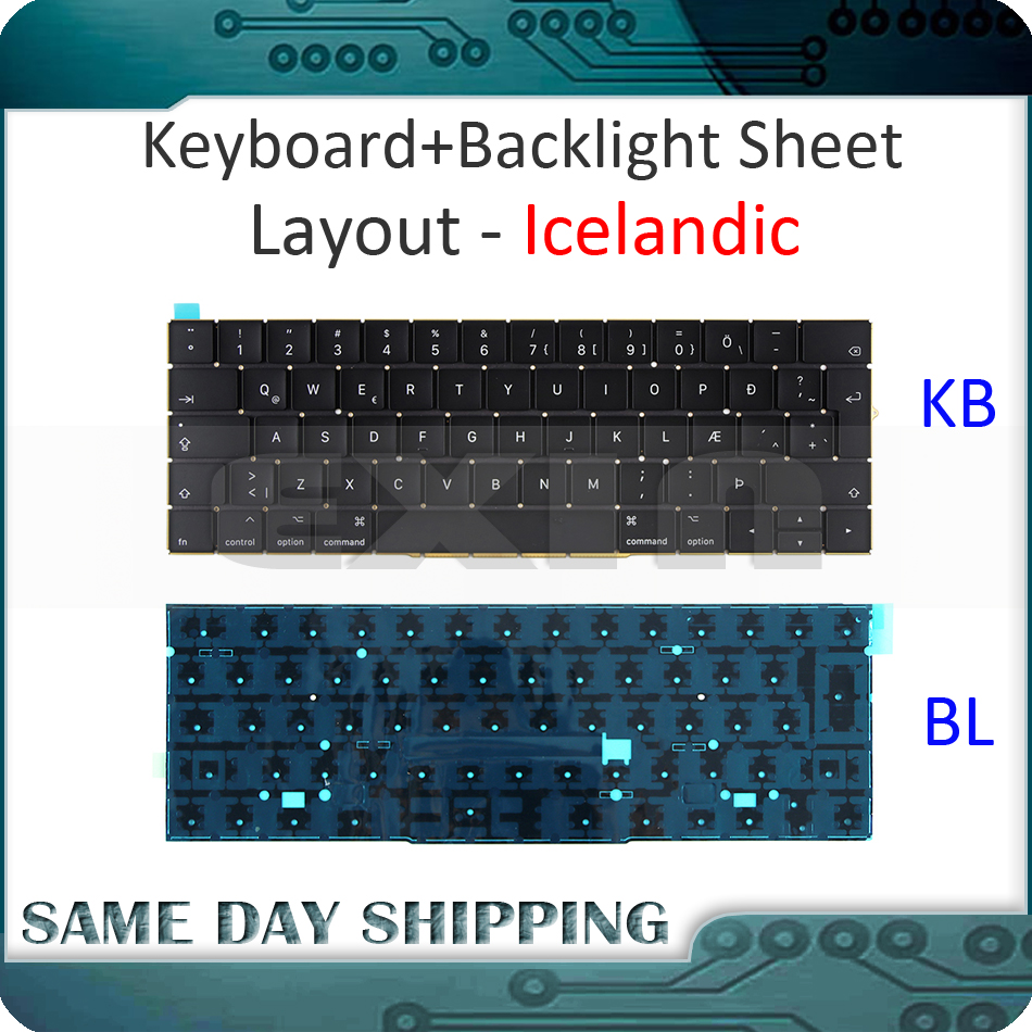 New for MacBook Pro 13.3 Retina A1706 Icelandic Iceland Keyboard w/ Backlight Backlit 2016 2017 MLH12 MPXV2 EMC3071 EMC3163 new a1706 keyboard uk english eu euro backlit backlight for macbook pro 13 3 retina 2016 2017 mlh12 mpxv2 emc3071 emc3163