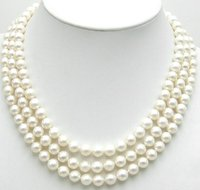 AAA high quality 7 8mm Perfect round White Pearl 3 strands Necklace with Silver clasp 5348 Wholesale and retail Free shipping