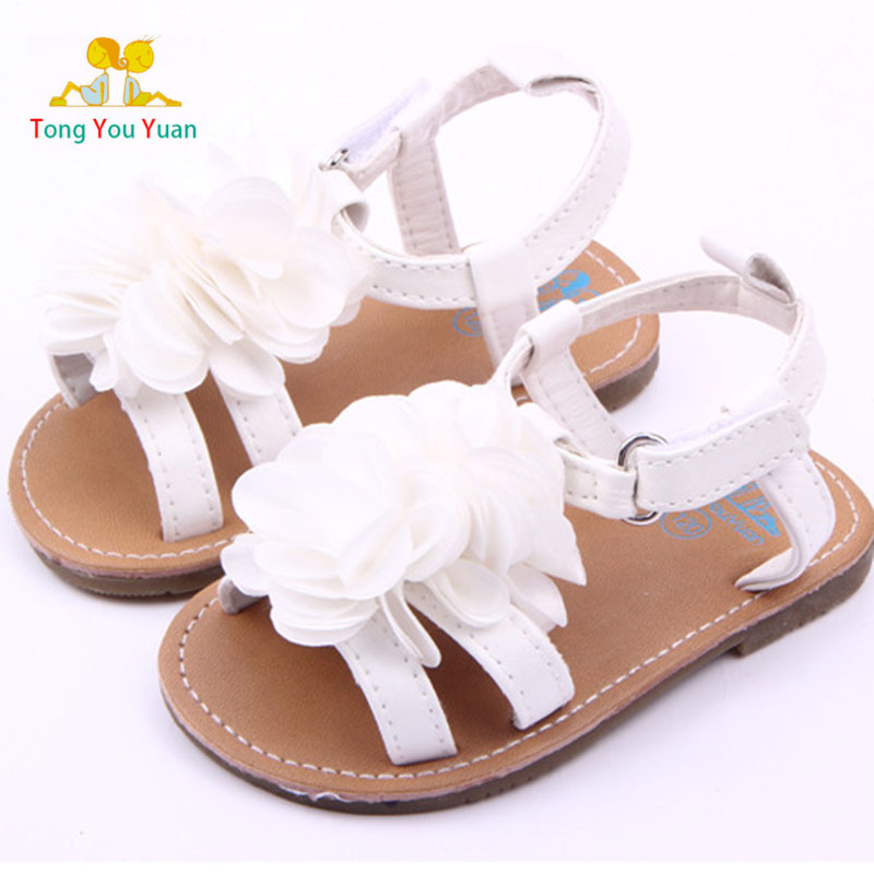 Toddler White Sandals | Beautiful New Pink White Peony Flower Hard Bottom Baby Sandals Toddler Sandals Baby Shoes Lx2