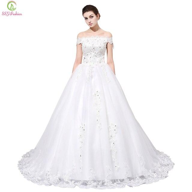 Vestido de novia ssyfashion vestido de novia Venta caliente blanco ...