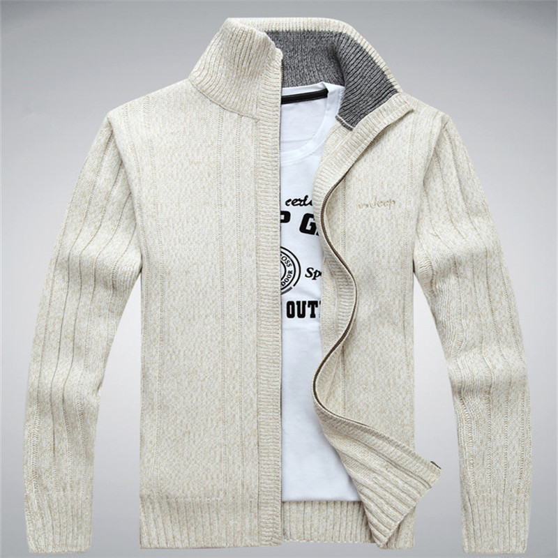 Man Sweater Casual Men Cardigan Thick Cashmere Sweater Combats Outerwear Winter Brand Army Green White Blue A0369