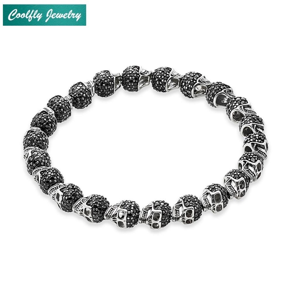 Bracelets de perles de crâne pavé de zircone noire pour hommes et femmes Bracelet rebelle élastique 925 bijoux de mode Punk en argent Sterling