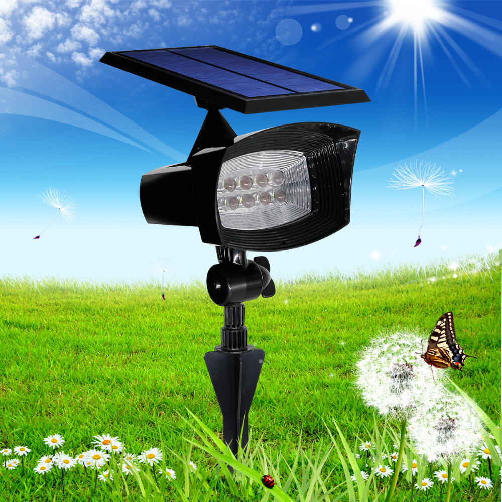 ФОТО 8led Solar powered led wall lights Outdoor lighting Flag Pole Garden Landscape lamps Waterproof yard lawn Path floodlights