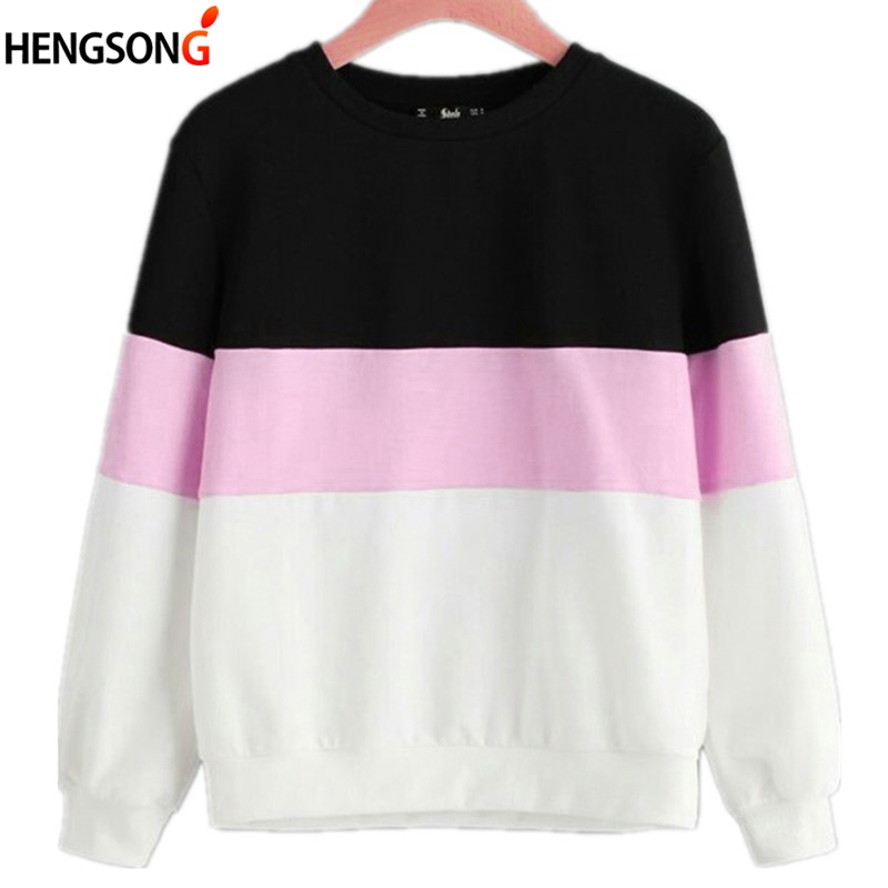 Female Jumper Sweatshirt 2018 Casual Stripe Patchwork Hoodies Top Autumn Spring Crew Neck Pullovers Tracksuit Woman Hoody