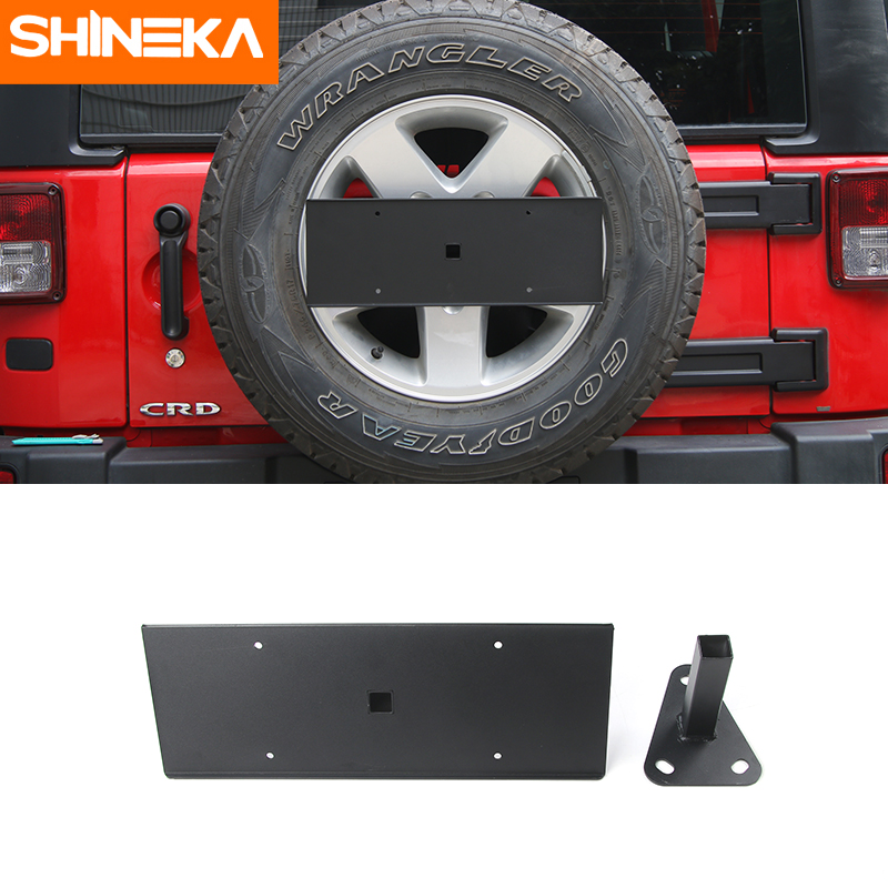 SHINEKA Rear Spare Tire License Plate Mount Bracket Holder for Jeep Wrangler JK 2007 UP Car