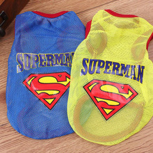 2016 Fashion Summer Pet Dog Clothes Pet Coat Puppy Superman Mesh Thin Ventilated Waistcoat Vest for Dogs