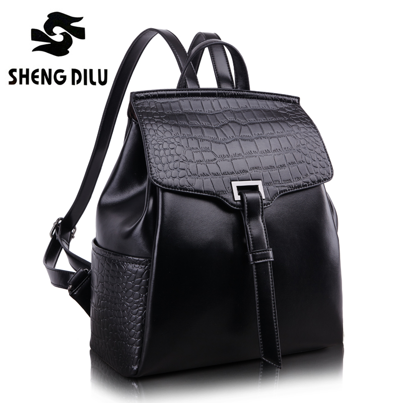 Genuine Leather Backpack Women Fashion School Bags For Girls Crocodile bagpack Female High Quality Feminine Casual Daypacks 2017