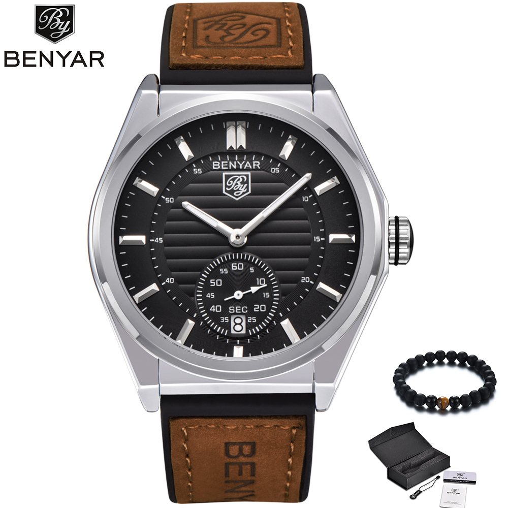 New Watches Male Unique Men Watch BENYAR Luxury Brand Sports Quartz Military Steel Leather Wrist Watch Men Relogio Masculino