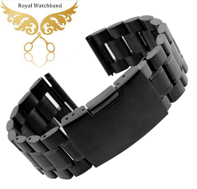 14mm 16mm 18mm 20mm 22mm 24mm 26mm Black New Mens Black Metal Watch Band Stainless Steel Bracelets For Smart Watch With Tool