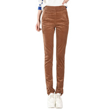 biktble 2019 Autumn Winter Corduroy Pants High Waist Long Trousers Women Casual