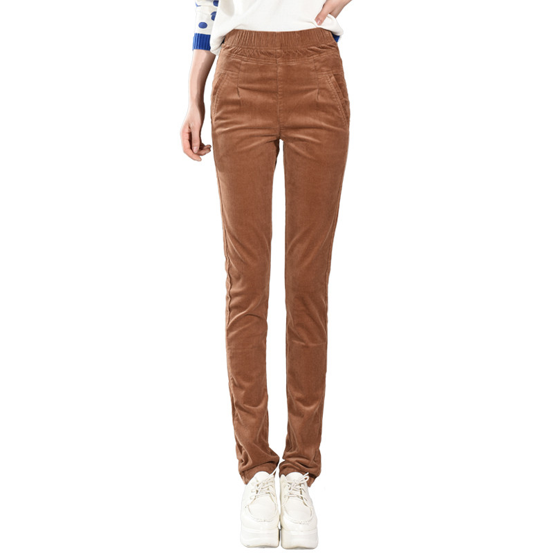 2018 Autumn Winter Corduroy Pants High Waist Long Trousers Women Plus Size Plus Velvet Casual Pencil Pants Pantalon Femme C3633