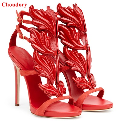 8f7f089baa4 Hot sale women high heel sandals fashion Leaf Flame gladiator sandals party  dress shoes woman winged thin heels