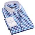2017 Contraste Manga Longa Camisa Xadrez Casuais dos homens Com Colarinho Quadrado branco Slim fit 100% Algodão Botão Para Baixo do Vestido camisa