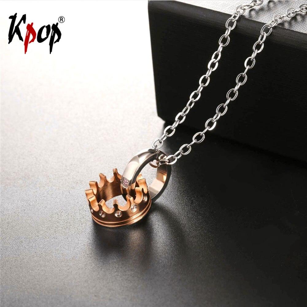 Kpop CZ Cubic Zirconia Noble Crown Necklace Rose Gold/Black Color Wholesale Trendy Stainless Steel Necklaces & Pendants P2535