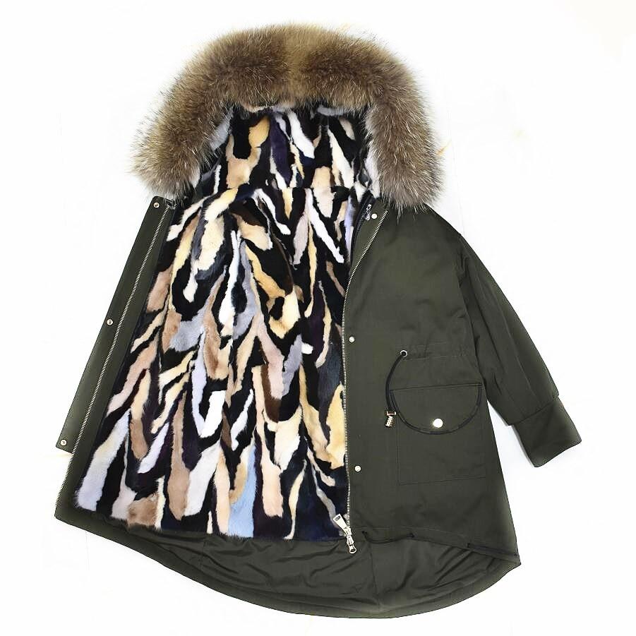 Vêtements Épaisse De Chaud Vison Col vent Fourrure Mode Naturel Laveur Raton Parker Coupe Green Manteau Doublure Europ D'hiver 2018new black xYwtZqOZ