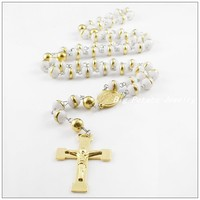 72cm 8mm Free Shipping Stainless Steel Gold Plated Crucifix Cross Jesus Necklaces White Gold Beads Sweater