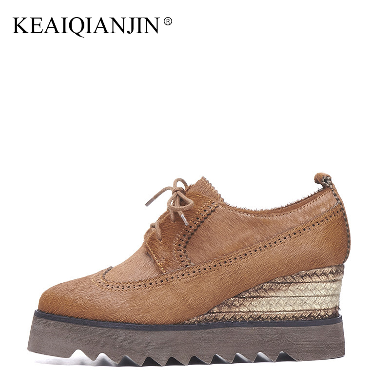 KEAIQIANJIN Woman Horsehair Shoes Spring Autumn Casual Lace Up Flat Platform Shoes Black Brown Round Toe Horsehair Flats 2018 keaiqianjin woman fringe platform shoes fashion spring autumn black red horsehair flats round toe casual genuine leather loafers