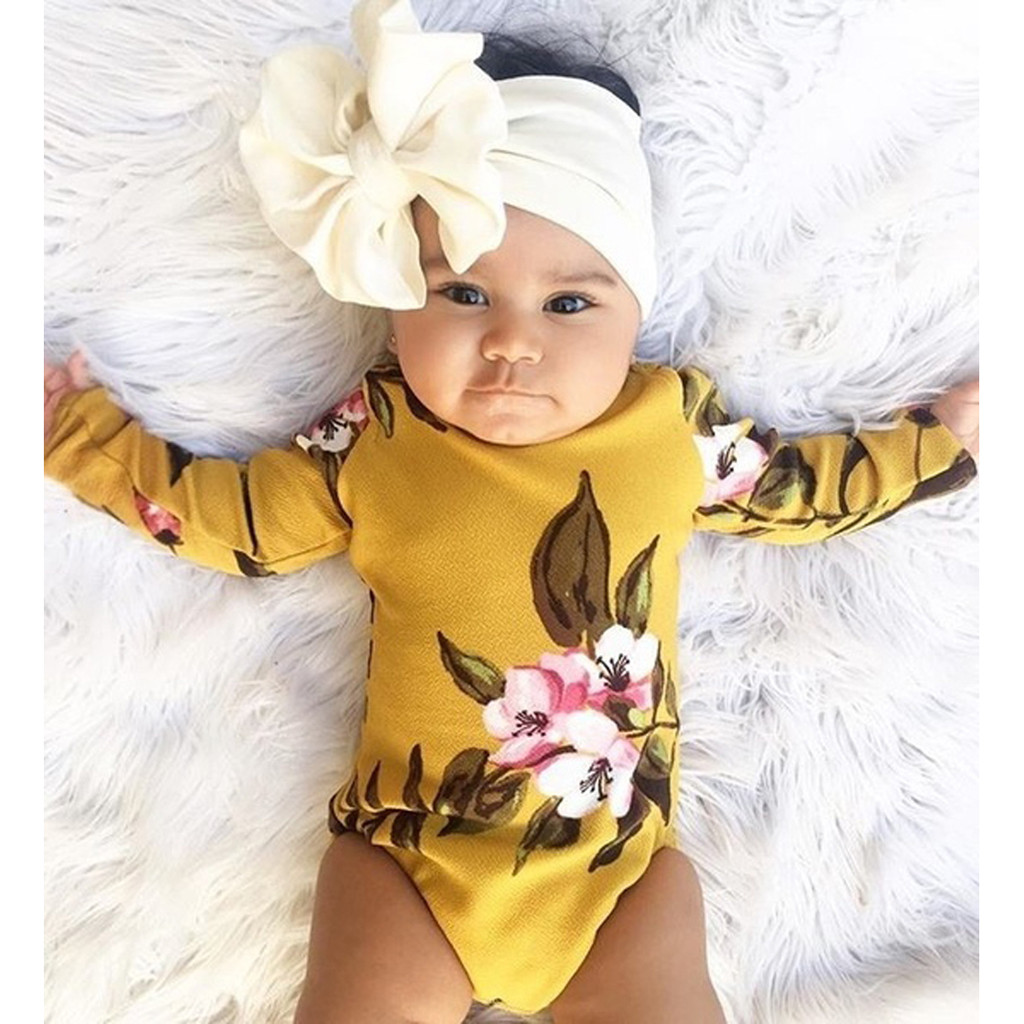 MUQGEW 2019 Baby Girl Clothes Newborn Infant Baby Boy Girls Floral Princess Headhand Romper Bodysuit Dropshipping Roupa Infantil
